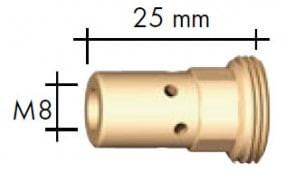 Gasdüsenträger M6, Länge 25 mm