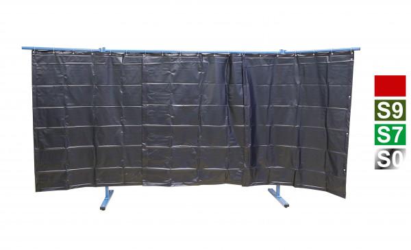 3-teilige Schutzwand mit Folienvorhang Rot
