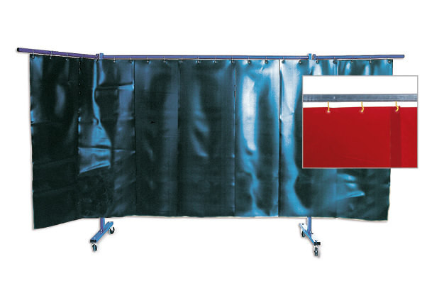 3-teilige Schutzwand mit Lamellenvorhang