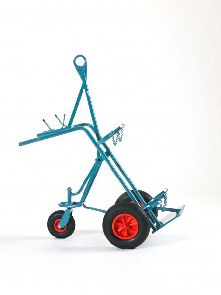 Stahlflaschenwagen 3-Rad-Fahrwerk, für 2 beladene Flaschen, 2 x 50 l
